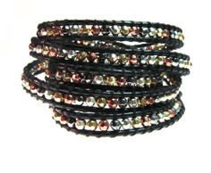 "Sparkling ""Lyric"" Gold, Silver, Copper, Hematite Bead Wrap Bracelet on Genuine Black Leather, 5x Extra Long Wrap Beautiful Silver Jewelry, http://www.amazon.com/dp/B005AM89ZQ/ref=cm_sw_r_pi_dp_NYozrb091XSYW"