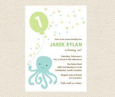 Printable Birthday Invitations Octopus Invitations by myPiperPress, $14.00