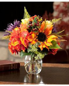 Rose, Hydrangea & Sunflower silk arrangement