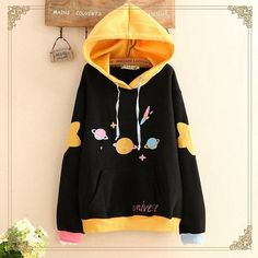 Harajuku universe print hoodie so clothes are a thing in 201 Kawaii Fashion, Cute Fashion, Teen Fashion, Korean Fashion, Mode Outfits, Girl Outfits, Fashion Outfits, Kawaii Clothes, Emo Outfits