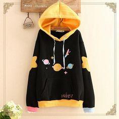 Harajuku universe print hoodie so clothes are a thing in 201 Kawaii Clothes, Kawaii Fashion, Cute Fashion, Girl Outfits, Casual Outfits, Fashion Outfits, Mode Kawaii, Kawaii Shop, Emo Outfits