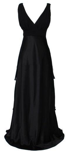 Plus Size Black Bridesmaid Dress Chiffon V-Neck Empire Waist Long $89.99