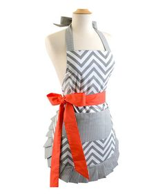 This Coral & Gray Zigzag Apron is perfect! #zulilyfinds