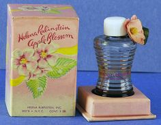 """Circa """"Apple Blossom"""" by Helena Rubinstein Perfume Ad, Vintage Perfume Bottles, Waterproof Mascara, Bottles And Jars, Bottle Art, Clear Glass, Decorative Boxes, The Incredibles, Apple"""