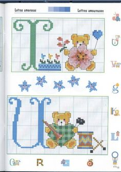 Gallery.ru / Фото #26 - 3 - KIM-3 Cross Stitch Letters, Cross Stitch For Kids, Cross Stitch Boards, Cross Stitch Baby, Counted Cross Stitch Kits, Alphabet Style, Alphabet And Numbers, Baby Embroidery, Crochet Chart