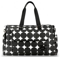"OOYOO diaper bag ""Labor of Love"" black dot large duffel - front view"