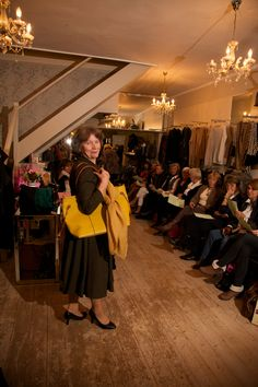 Stylish Suit by Out of Xile with handbag and scarf in mustard #danilelli #fashionshow #dartmouth #outofxile