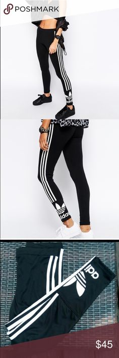 Adidas leggings Very nice black adidas leggings with three stripes and logo on the bottom. Of pants ,,,Material : 70% polyester 25% cotton , 5% spandex ,,,,,brand new in adidas package Adidas Pants Leggings