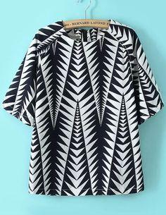 Black White Geometric Print Chiffon Blouse #geometric