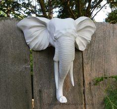 Faux Taxidermy / Wall Mount Animal Head / Modern / Elephant Head Wall Decor / Matte White. $60.00, via Etsy.
