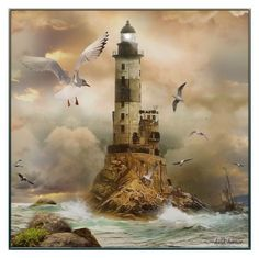 """""""The Lighthouse"""" by lastchance ❤ liked on Polyvore featuring art, ocean, lighthouse and lastchance"""