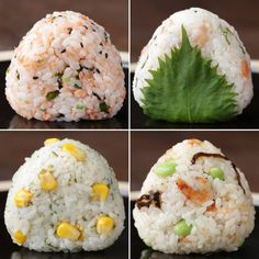 Simple Onigiri Variations (Rice balls - O-nigiri, also known as o-musubi, nigirimeshi or rice ball, is a Japanese food made from white rice formed into triangular or cylindrical shapes and often wrapped in nori. Sushi Recipes, Asian Recipes, Cooking Recipes, Healthy Recipes, Cute Food, Good Food, Yummy Food, Tasty Videos, Food Videos