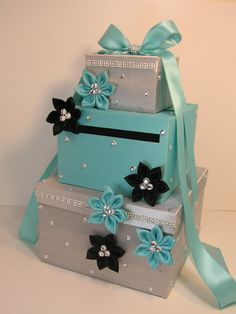 Tiffany and Silver Wedding  Card Box Gift Card Box Money Box Holder.-Special Custom order.Customize your color via Etsy