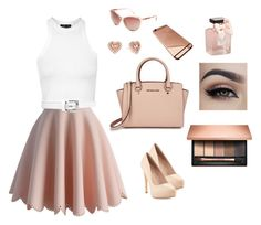 """For a date"" by prosvetovajane ❤ liked on Polyvore featuring beauty, Chicwish, Topshop, Charles by Charles David, Michael Kors, Abercrombie & Fitch and Clarins"