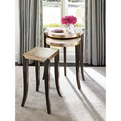 Interior HomeScapes offers the Gold Leaf Nesting Tables - Set of 3 by Caracole. Visit our online store to order your Caracole products today. Geometric Furniture, New Furniture, Living Room Furniture, Table Topics, Nesting Tables, Decoration, Living Room Designs, Dining Chairs, Table Settings