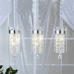 160 Lighting - Ceiling Lights - Pendant Lights - Artistic Crystal 3-light Pendant Lights with Glass Shades G4 Bulb Base