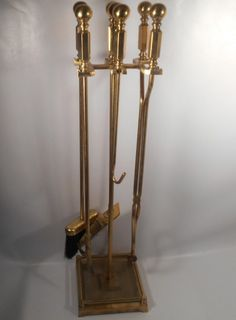 ANTIQUE DUTCH BRONZE / BRASS FIREPLACE TOOLS with STAND ...