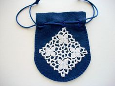 Jewelry Pouch Light Blue Felt Drawstring Bag with Hand Bead ...
