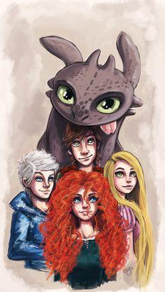 Artista misturou personagens da Pixar e da DreamWorks nessa íncrivel ilustração.