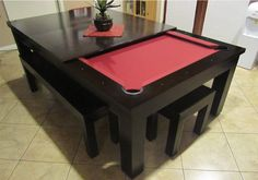 Moderna Pool Table Convertible Dining Table - Use J/K to navigate to previous and next images