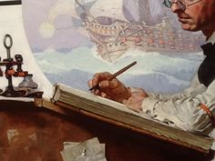 Norman Rockwell close-up. Note dip pen and ink bottle. These pens were used right up to the 1950s.