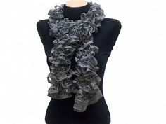 Hand knitted Gray ruffled scarf with colorful sequins by Arzus $19.89
