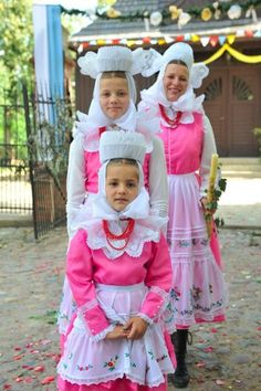 """folkthings: """" Folk costumes of Domachów, Poland """" I love their head coverings and dresses so much! reminds me of these other pink ladies I love Polish People, Polish Folk Art, Folk Dance, We Are The World, Ethnic Dress, Corpus Christi, People Dress, My Heritage, Folk Costume"""