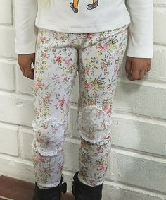 Look what I found on #zulily! Pretty Cute Cream Tiny Roses Shabby Leggings  - Toddler & Girls by Pretty Cute #zulilyfinds