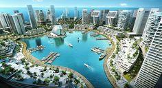 the ultra futuristic city Eko Atlantic will be built on Victoria Island in Lagos, Nigeria