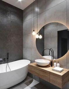 Black Bathroom Taps, Wood In Bathroom, Black Bathrooms, Dream Bathrooms, Bathroom Furniture, Grey Bathroom Interior, Bathroom Stand, Black Bathroom Decor, Bathroom Tubs
