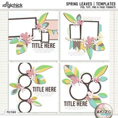 Spring Leaves | Templates by Akizo Designs - For  Digital Scrapbooking  Layouts - 30% off now through March 9th.