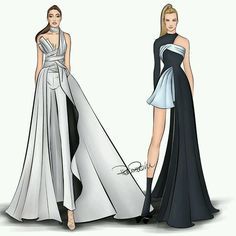 Fashion Design Drawing Two girls slaying in Atelier Versace. at the 2016 British Fashion Awards. at the 2016 AMAs. Dress Design Drawing, Dress Design Sketches, Fashion Design Sketchbook, Fashion Design Drawings, Dress Designs, Fashion Drawing Dresses, Fashion Illustration Dresses, Fashion Dresses, Drawing Fashion