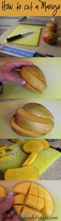 http://fabulesslyfrugal.com/2013/04/how-to-cut-and-freeze-mango.html  I love mango! When I buy a big box of mangos my family can not eat all of them before they start to get old. So it works really well to freeze them. Then I can use my frozen mango to make smoothies. When I was in the Philippines I learned how to properly cut a mango. It can be a little tricky because of the large seed in the center of the mango, so there really is a best way to cut a mango.