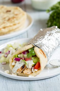 Chicken Soulvaki Recipe -->Gyros with Greek Chicken, Tzatziki and Homemade Greek Pita Flatbread - Cooking Classy