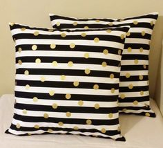 Set of 2 Black white striped gold polka dots pillow covers shams geometric design sofa throw couch bed