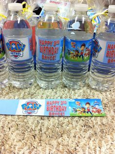 Paw Patrol water/juice box labels. Yes you can make these yourself!  Free clip art, add word art in a text box sized to fit.