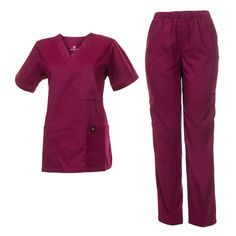 Medical Uniform women and men vneck unisex scrub sets ($13) ❤ liked on Polyvore featuring gurgundy