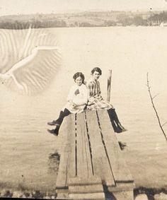 Vintage foto 1912 poco chicas muelle de lago inusual impresión impresión…