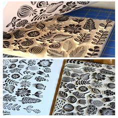 Linocut printmaking and surface pattern design by licensing artist Andrea Lauren, author of Block Print. Stamp Printing, Printing On Fabric, Screen Printing, Homemade Stamps, Stamp Carving, Tampons, Linocut Prints, Print Artist, Andrea Lauren