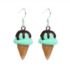 Mint ice cream with covered with hot fudge earrings
