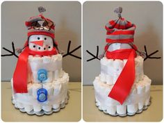 """Diaper Snowman. Baby boy """"Baby It's Cold Outside"""" winter baby Shower theme. Size 1 Pampers Swaddlers."""