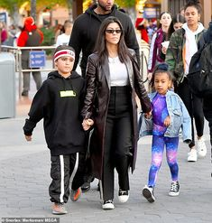 Privileged cousins: Eight-year-old Mason sported athleisure attire from Gucci and Supreme while North stood out in a galaxy-print co-ords beneath a jean jacket Kardashian Style, Kardashian Jenner, Kourtney Kardashian, Kardashian Fashion, Scott Disick Kids, Jenner Family, Business Casual Outfits, Black N White, Types Of Fashion Styles