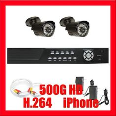 "Professional 4 Channel DVR with 2 x 1/4"" Sony CCD Camera, 540TV Line Surveillance Video Camera CCTV System Package . $320.00. Package Includes: G-2544SV-N DVR with 500G HDD Remote Control and mouse 2 x G-648 - 1/4"" Sony CCD Camera 1 x G-60CAW: 60 feet pre-made cable BNC 1 x G-25CAW: 25 feet pre-made cable BNC 2 x G-12V0.5A: 12V 0.5A Power Supply for Security Cameras"