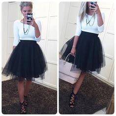 Tylová sukně dlouhá - Black - Yes, I am Fashion
