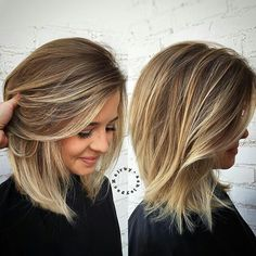 medium haircut.  side view.  face view.  light layers.  long bob.