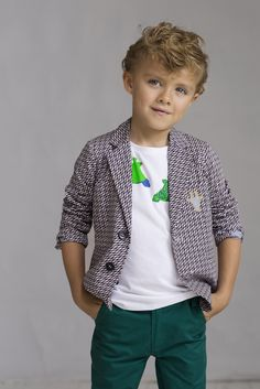 Boyswear at Petit Tribe features African inspired printed cotton blazers with Giraffe logo pockets for summer 2015 kidswear