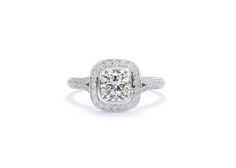 Cushla Whiting - GRACE ENGAGEMENT Cushion cut surrounded by small white diamonds with antique milgraining. #cushlawhitingrings #engagementrings