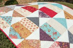 """Fat Quarter Shop's Jolly Jabber - Bird's Eye View quilt in the Atelier collection. made with Jolly Bars - 5""""x10"""" rectangles"""