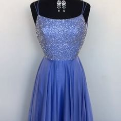 Straps Blue Long Prom Dress with Sparkle Top #promdress #partydress