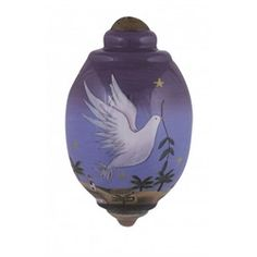 """Ne'Qwa """"Peace Be With You"""" Hand-Painted Blown Glass Christmas Ornament #7151114 This beautiful, hand-made glass ornament depicts a dove carrying an olive branch through a starry night sky with """"Peace Be With You"""" on the back. Also features the artist's signature and an antiqued gold topper and green tassel  Artist - Sarah Summers"""
